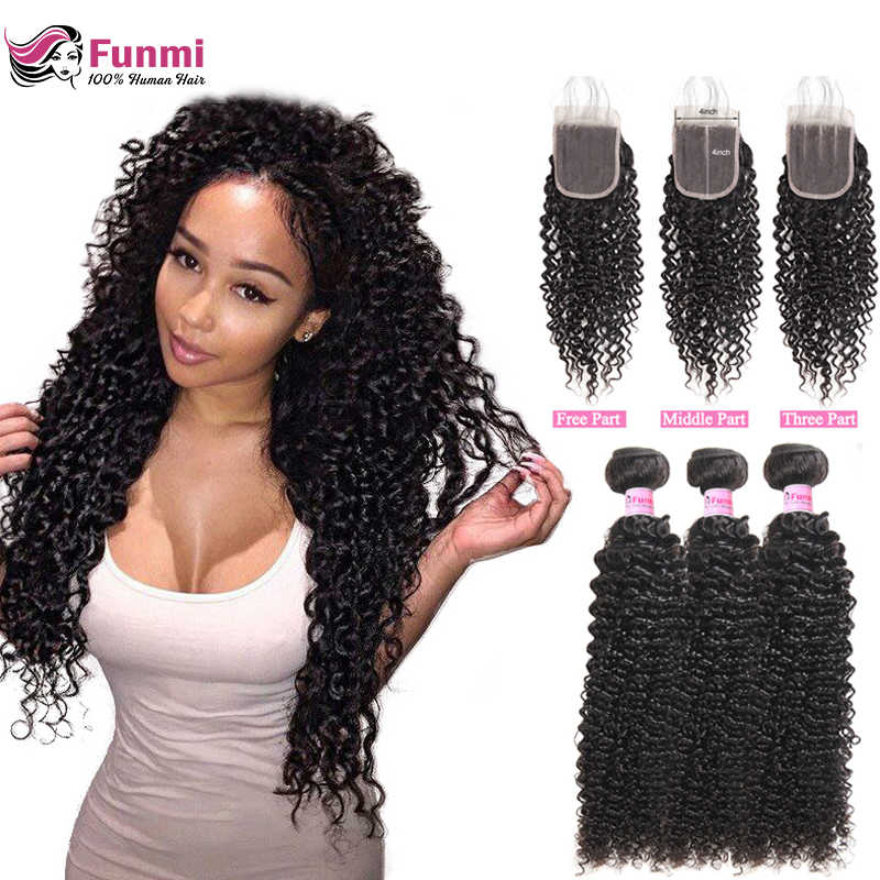 Funmi Mongolian Kinky Curly Hair with Closure Unprocessed Virgin Hair Bundles with Closure 3pcs Human Hair Bundles with Closure