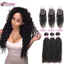 дешево!  Funmi монгольские курчавые вьющиеся волосы с закрытием необработанные пучки волос девственницы