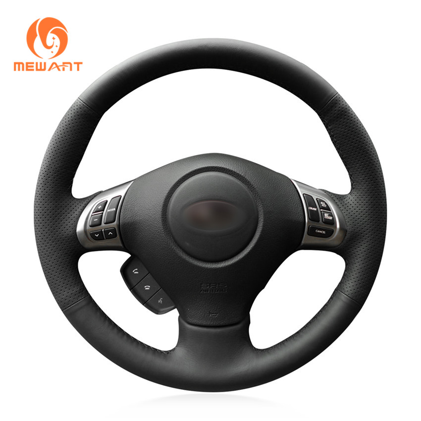MEWANT Black Genuine Leather Car Steering Wheel Cover for Subaru Forester 2008-2012 Impreza 2008-2011 Legacy 2008-2010 Exiga 2 playmates tmnt playmates