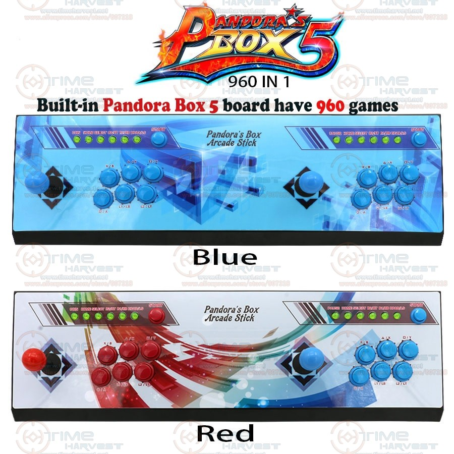 2 plysers Pandora box 5 Arcade joysticks buttons console 960 in 1 family TV game control with USB zero delay function 720P video sanwa button and joystick use in video game console with multi games 520 in 1