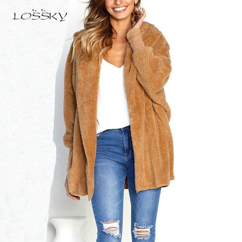 LOSSKY סתיו ויטנר נשים פו Lambswool מעיל מעיל שחור חם נקבה Loose פתוח תפר מעיל ארוך שרוול חדש מטושטש להאריך ימים יותר