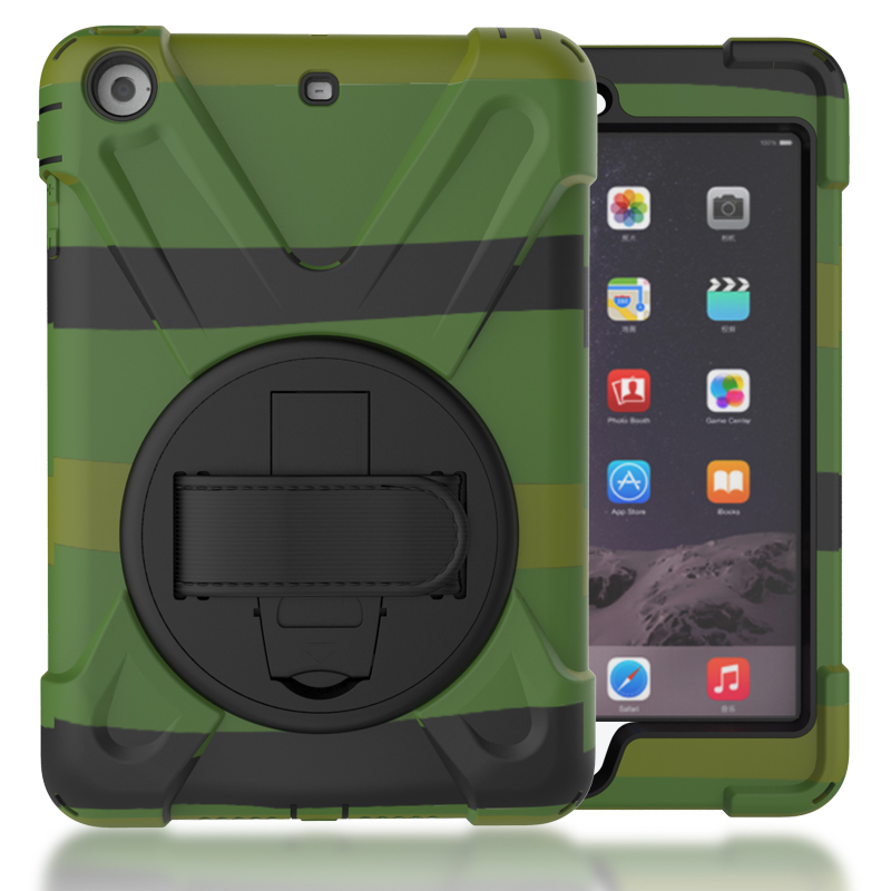 Case For iPad Mini 2 Mini 3 Kids Safe Shockproof Heavy Duty Silicone Hard Cover kickstand Hand bracel For Mini2 Mini3 + Stylus for ipad 2 ipad 3 ipad 4 case kids safe shockproof heavy duty rubber hybrid armor hard case cover stylus