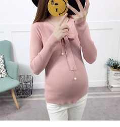 2018 г. Модные осенние и зимние база вязать платье для беременных рубашка Чао мА корейской версии свитер с бантом