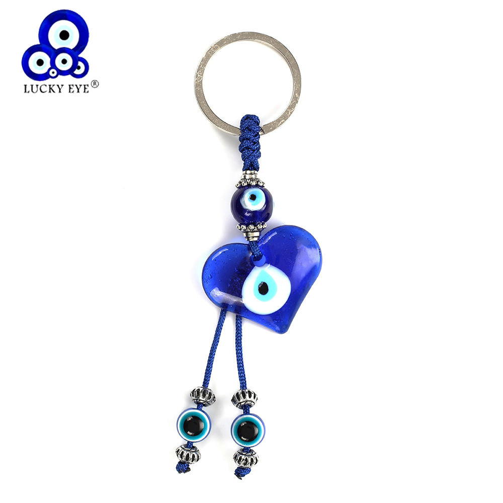 Lucky Eye Turkish Heart Glass Evil Eye Charms Keychain Simple Pendent Key Chain Alloy Bag Key Chain Fashion Jewelry Gifts EY5044
