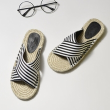 Moxxy Summer Women Breathable Linen Slippers 2019 New Woman Flats Casual Flip Flops Sandals Outdoor Shoes Home Slippers whoholl women summer linen slippers breathable cute rabbit linen flip flops female casual flax slippers sandals indoor shoes
