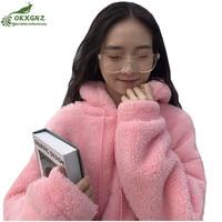 Lamb cashmere Hooded soft plush Sweatshirt women2019autumn winter CasualWarm faux fur pullover tops long Sleeve women Furry coat