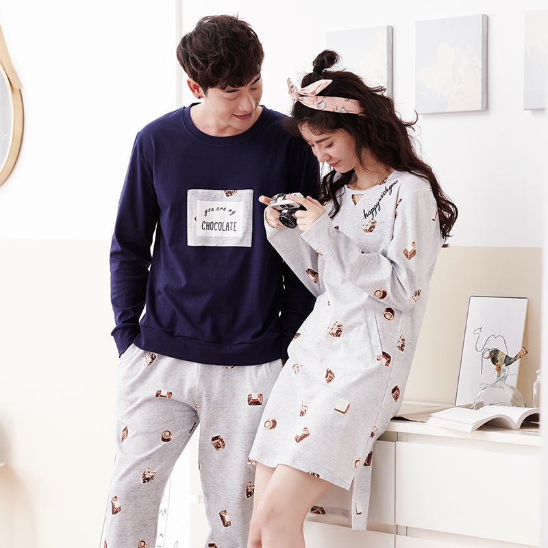 JCVANKER High Quality 100% Cotton Couples Pyjamas Suit For Women Nightgown Man Pijama Set Long Sleeve Spring Sleepwear Nightwear