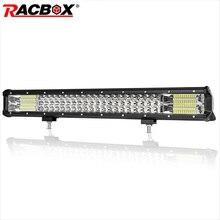 купить Fog lights 324W 23'' Triple Row LED Light Bar Spot Flood Combo 12V 24V Car Truck 4WD ATV UTV Boat Driving Lamp Bar Extra Offroad дешево