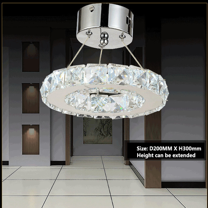 9W LED k9 Crystal Chandelier Stainless steel Ring Crystal Lamp Fixture Modern Circle Light Diameter 200MM