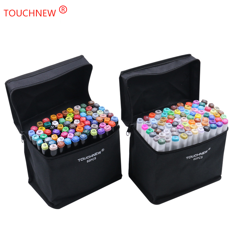 TOUCHNEW White 30/40/60/80/168 Color Art Markers Set Dual Headed Artist Sketch Oily Alcohol Based Markers For Animation Manga