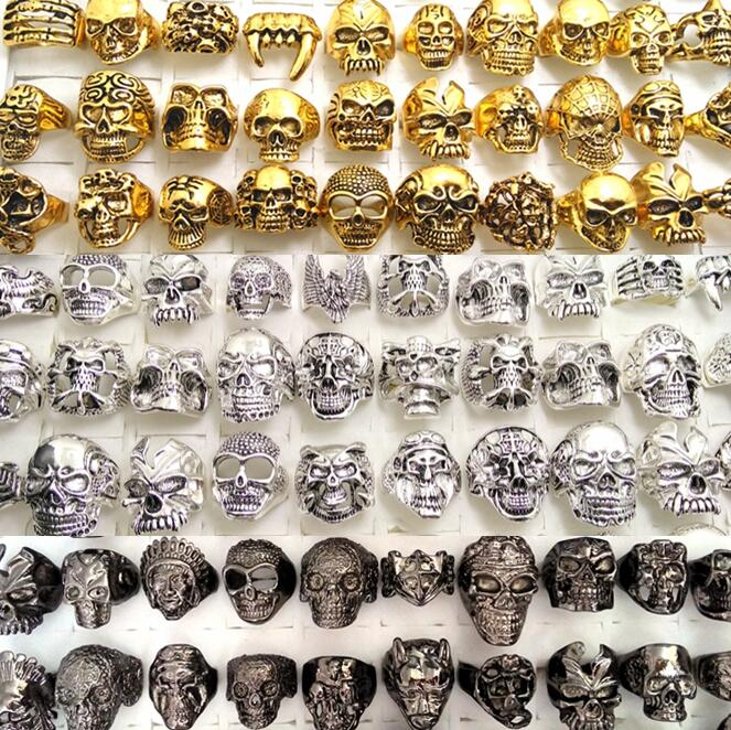 Bulk lot 100PCS Black Gold Silver Mixed Men s BIG HEAD Skull Rings Metal Alloy Jewelry
