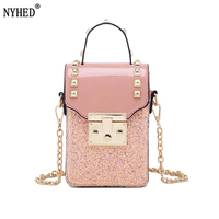 NYHED Women Small Phone Bag Girls Causal Chains Makeup Flap Shoulder Bag Lady Messenger Bags