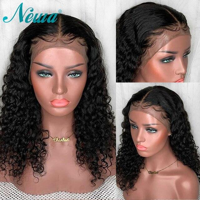 Pelucas de pelo humano frontales de encaje NYUWA pelucas de pelo Remy sin pegamento con pelo rizado brasileño de pelo de bebé peluca de encaje