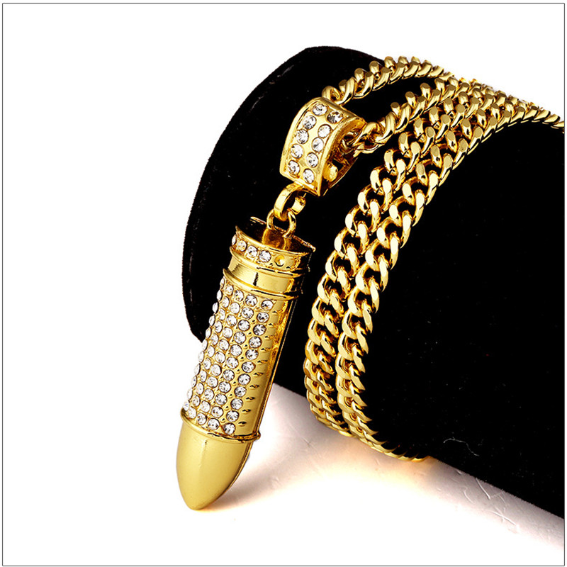 New trendy trendy golden rhinestone iced out machine gun for Bling jewelry coupon code