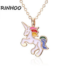 Women Girls Enamel Cartoon Horse Pendant Necklace For Children Kids Cute Animal Necklace Jewelry Party Birthday Gift Accessories(China)
