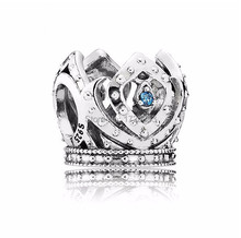 Spring 2015 new openwork elsa crown charms with blue cz 925 sterling silver jewelry for women famous brand diy bracelets SH0644