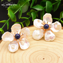 лучшая цена XlentAg Natural Lapis Lazuli Baroque Flower Pearl Stud Earrings For Women Handmade 925 Sterling Silver Gift Fine Jewelry GE0678