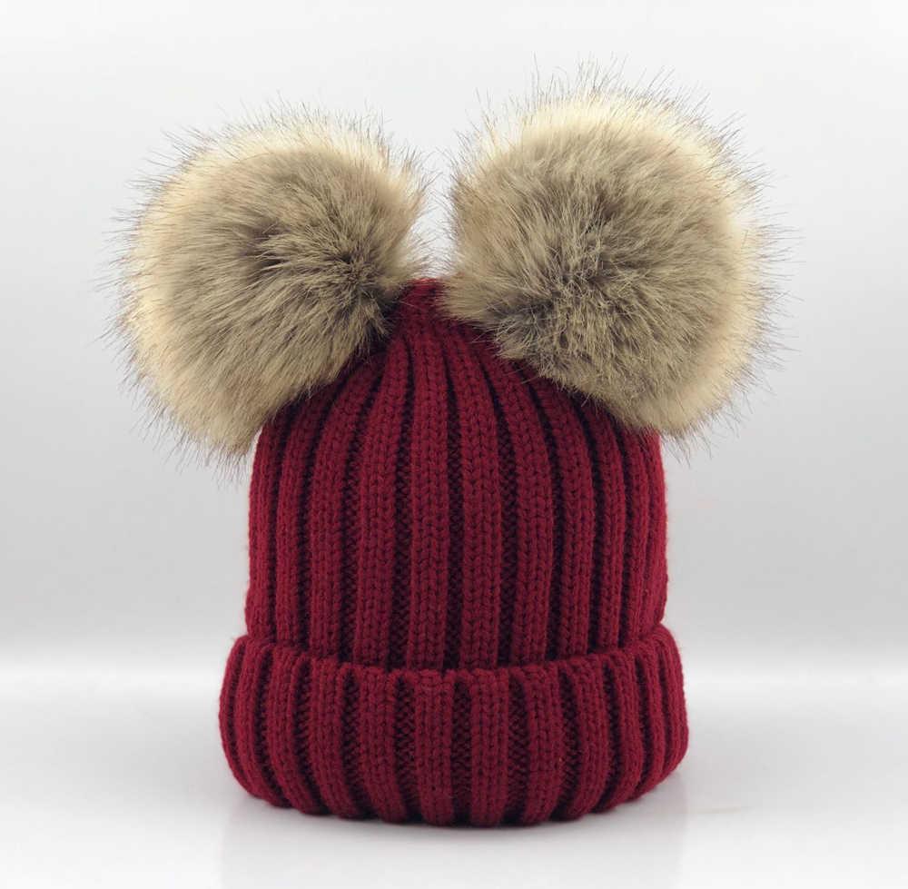 ... Baby Girls Boys Winter Warm Gorros Para Bebe big size 15cm faux Fur  Pompom Ball Kids ... 586f3825f5