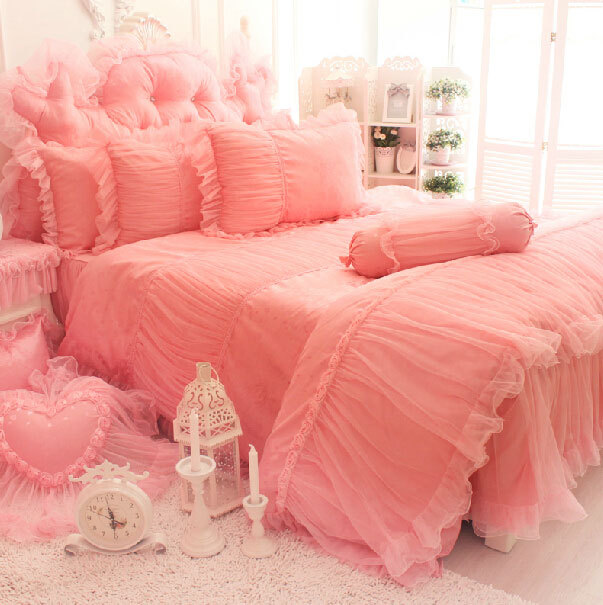Princess Pink Rose Wed Bedding Sets Twin Full Queen King