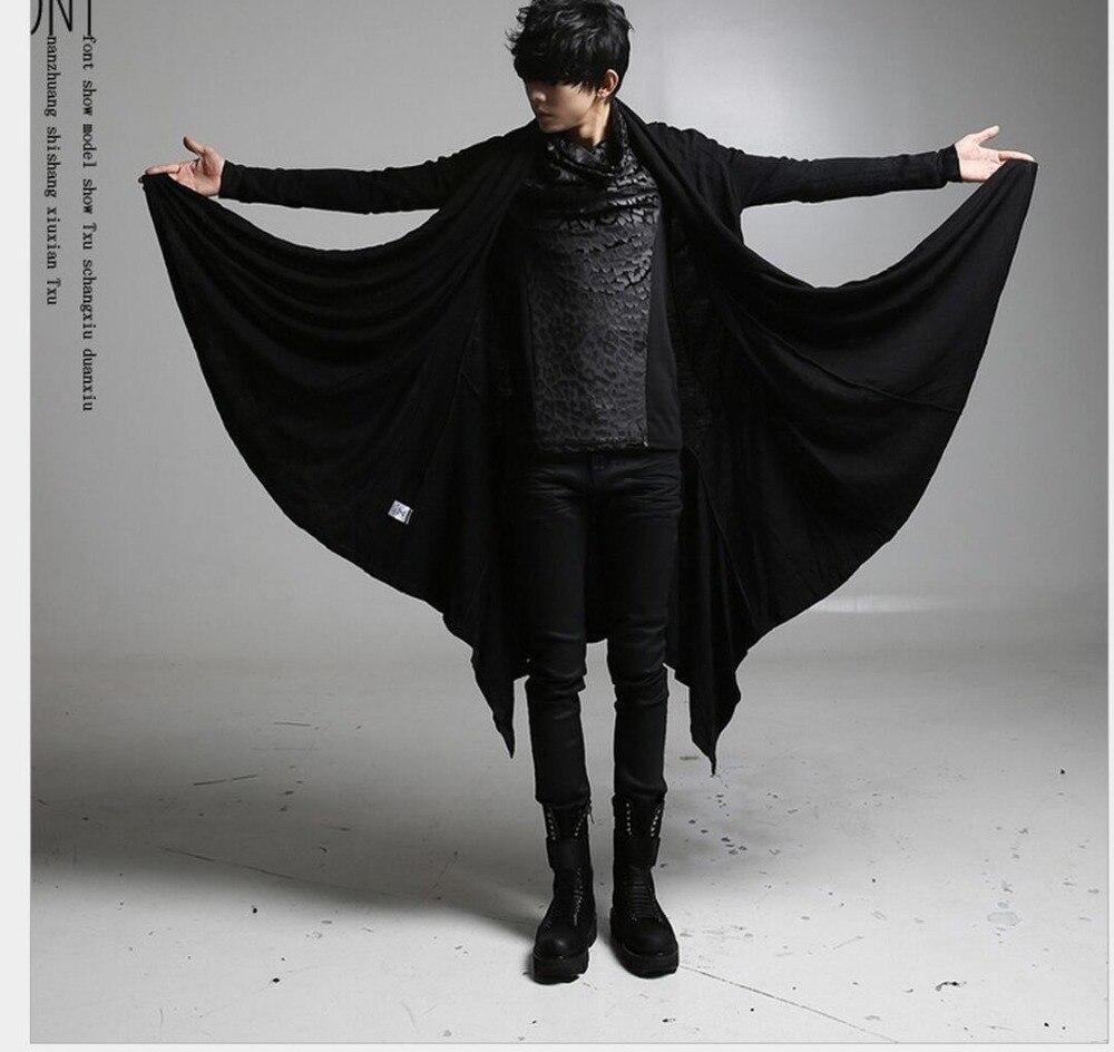 S-5XL chaud nouvelle version coréenne de manteau manteau Long t-shirt hommes automne personnalité non-grand public chanteur costumes vêtements