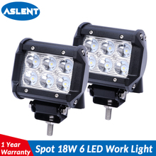 ASLENT 4 inch 18W LED Work Light Bar for Motorcycle Driving Offroad Boat Car Tractor Truck 4x4 SUV ATV Lamp 12V 24V