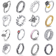 925 Silver Ring Charm Flower Heart Lock Butterfly Leaf CZ Finger Rings For Women Jewelry(China)
