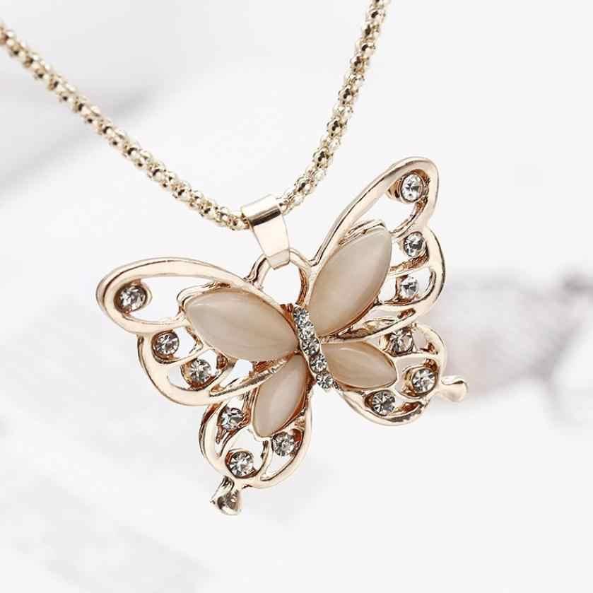 Bezbłędne kobiety Lady naszyjnik Choker Pendientes różowe złoto Opal wisiorek z motylem przepiękny naszyjnik łańcuch sweter Oorbellen