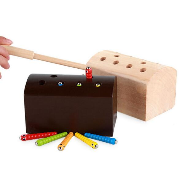 Деревянные головоломки мультфильм игрушки Монтессори развивающие игрушки координацию глаз ребенка руки упражнения ловить игра Worms MG108