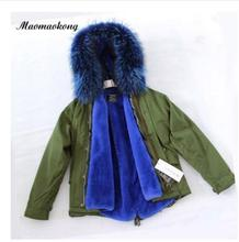 Women  winter real raccoon fur collar Hooded Jacket Coat Vintage Green Warm Thick short  Ladies  coat 2016 DHL free shipping