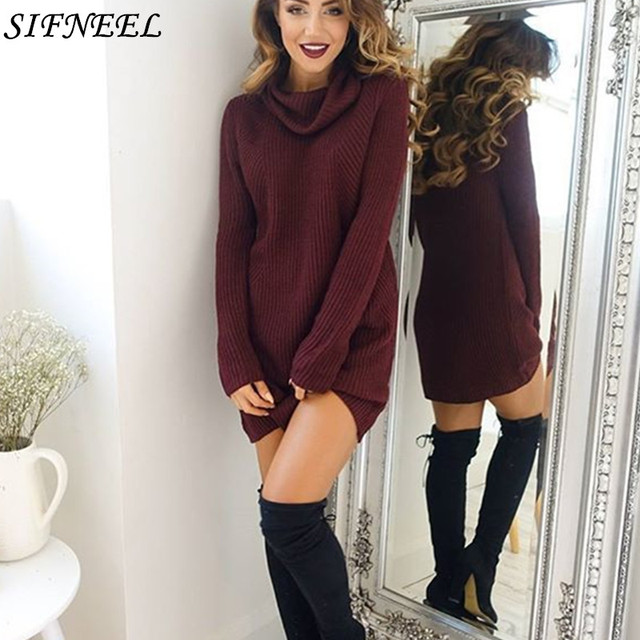 b36a3ad6eb2 2xl Winter Sweater Dress Turtleneck Long Sleeve Knitted Sweaters Women  Stretch Pullovers Female Party Mini Dresses plus size
