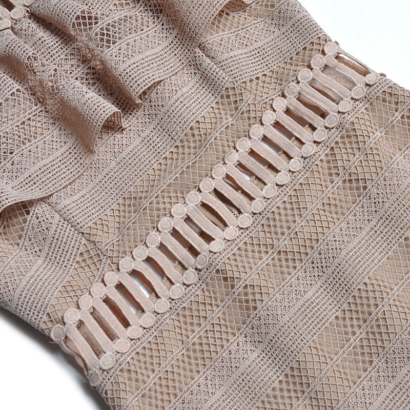 Femmes Broderie Haute À Truevoker Qualité De Robe D'été 2017 Volants Courtes Pacthwork Designer Manches Découpe Crochet Gaine IgICqRHw
