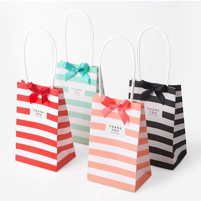 7f01b438e 5 Unidades pequeña bolsa de regalo con asas lazo cinta rayas bolsa de papel  galletas candy