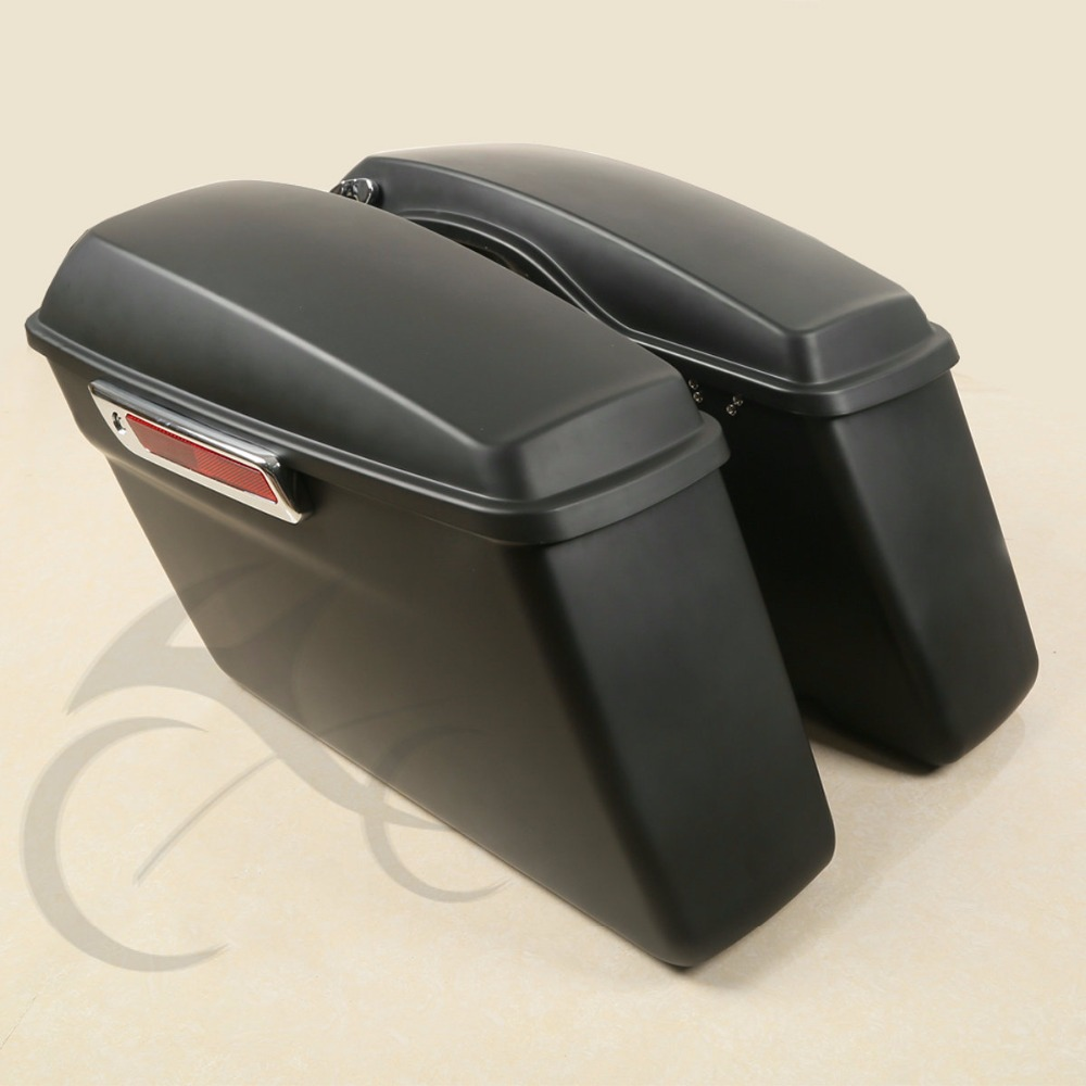Matte Black Hard Saddle Bags + Latch keys Lid For Harley Touring Glide Electra Road King Street Glide FLHT FLHR FLTR 2014-2018 iridium saddle shield heat deflector for harley 2009 2016 electra tri glide trike touring road king street glide flht fltr flhr