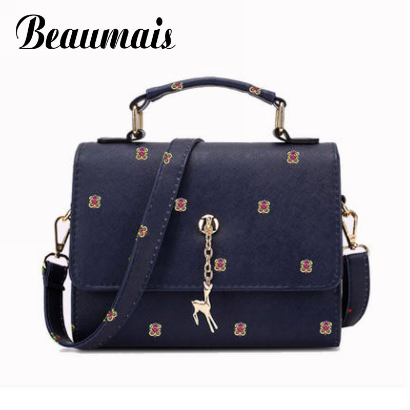 Beaumais New Arrival Pu Leather Women Messenger Bags Mini Bag With Deer Toy Leather Handbags Women Shoulder Bags Clutch DB5854 fashion women mini messenger bag pu leather shell shape bag crossbody shoulder bags with deer toy popular