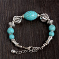 0133 Hot Charm Beads Fashion Jewelry Vintage Hollow Out Handmade Petals Tibetan Silver Turquoise Bracelet Free Shipping