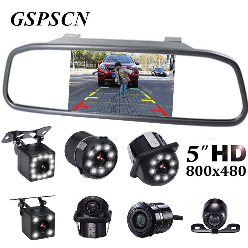 GSPSCN 5 inch Car Rearview Mirror Monitor Auto Parking Vedio + LED Night Vision Backup Reverse Camera CCD Car Rear View Camera цена