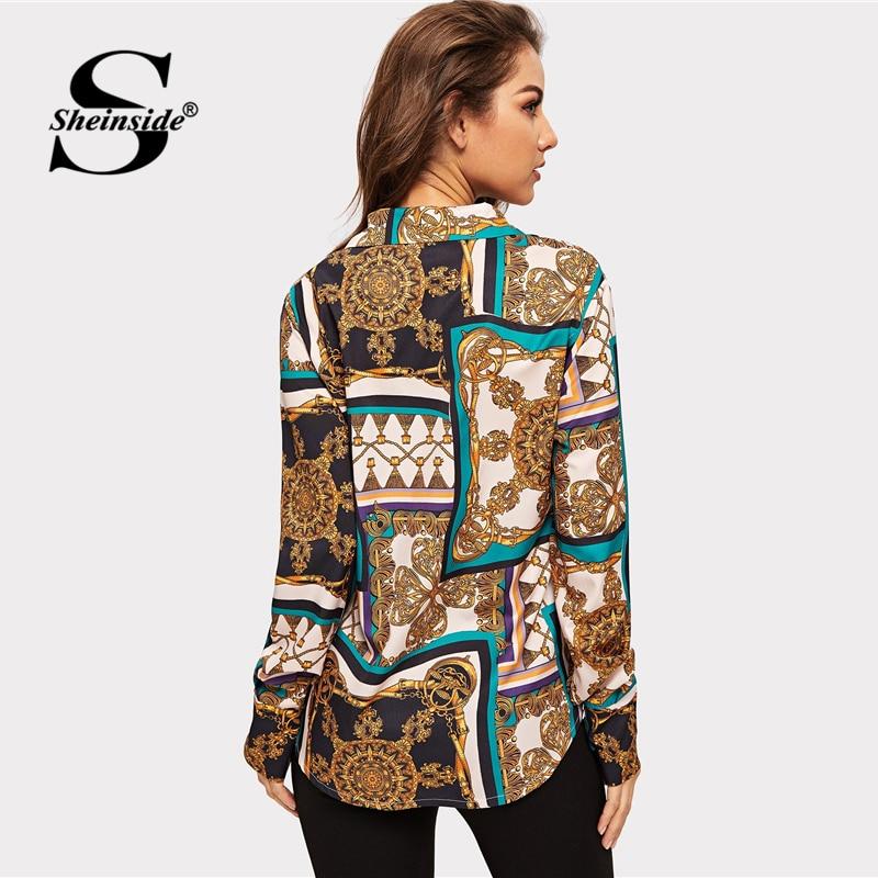 Camisa Patchwork 2019 Primavera Cuello Ropa Botón Mujeres De Blusa Sheinside Ol Print V Moda Mix Blusas Las Elegante Multiple Casual Dama wxwqXOP