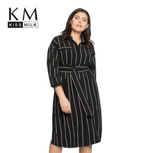 Kissmilk Plus Size Women Fashion Casual Stripe Tie Waist Long Sleeve Split Turndown Collar Dress With Button