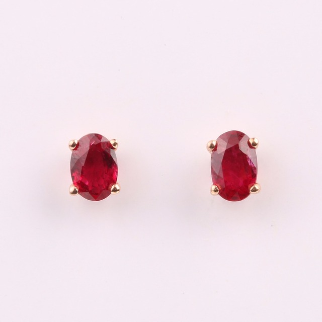 Robira Trendy Stud Earrings For Women 18K Rose Gold with Natural Burma Ruby Wedding Stud Earring Red Fine Jewelry Wholesale