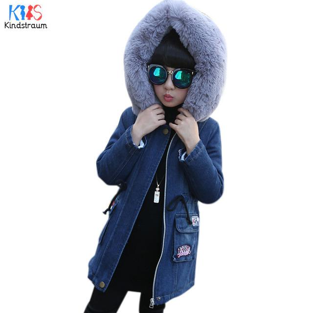 Kindstraum 2017 novas crianças inverno denim algodão grosso casacos marca meninas com capuz jaqueta de lã de cordeiro outerwear quente para as crianças, rc1062