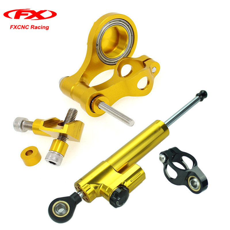 FXCNC for Yamaha YZF R6 2006-2015 2014 2013 Motorcycle Steering Stabilizer Damper Mounting Kits with Brackets Kits (for Yamaha) for ktm 200 duke 2013 2014 390 duke 2014 2015 2016 motorcycle accessories steering damper stabilizer with mounting bracket kit