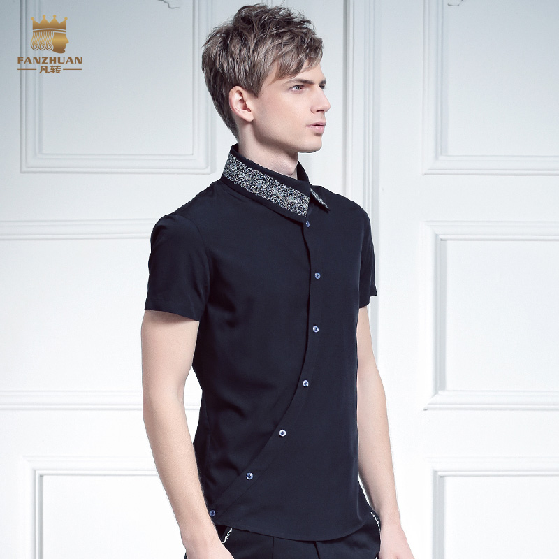 Livraison gratuite nouveau mâle mode FanZhuan hommes placket personnalité irrégulière oblique col 612066 broderie chemise à manches courtes - 3