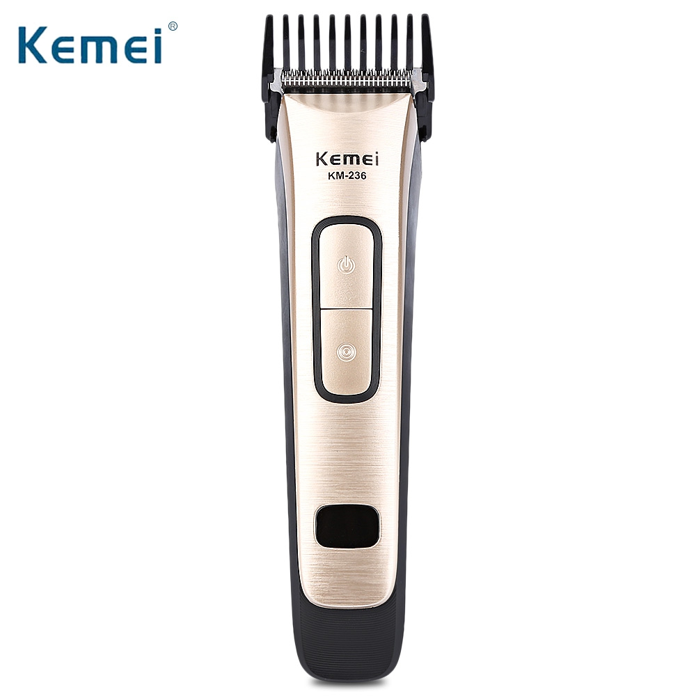 Kemei KM - 236 Professional Electric Hair Clipper Cordless&Rechargeable 220-240V Hair Cutting Machine Hair Trimmer With 4 Comb 110 240v low noise rechargeable hair trimmer titanium blade 0 8 2 0mm adjustable hair clipper with 4 limit comb km 6688 s43