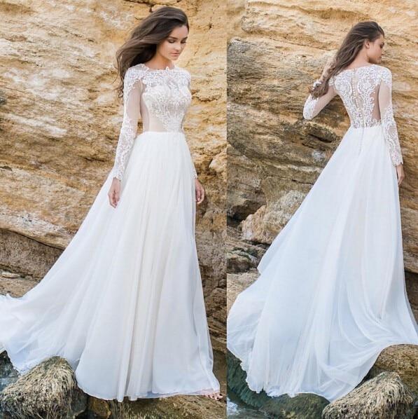Simple Design Scoop Neck Long Sleeve Long A Line Tulle: Vestido De Noiva 2017 New Elegant Lace Applique Tulle