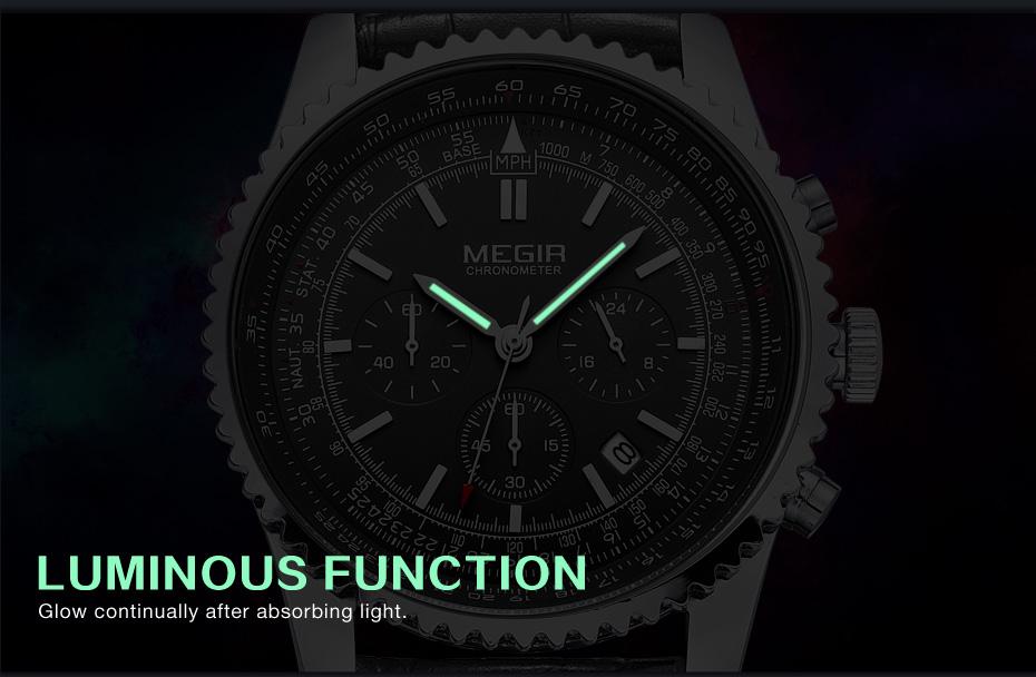 Topdudes.com - MEGIR Fashionable Luxury Luminous Quartz Relogio Masculino Watch