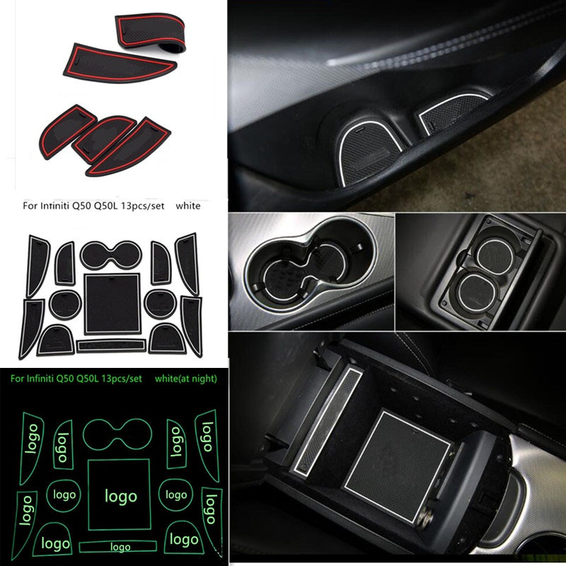For Infiniti Q50 Q50L Gate Slot Pad Rubber Car-cup Interior Cup Cushion Door Mat Cup Stickers Covers Rubber With Logo