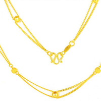 Pure 24K Yellow Gold Necklace Chain Women 999 Gold Beads Link Chain Necklace 14.59g