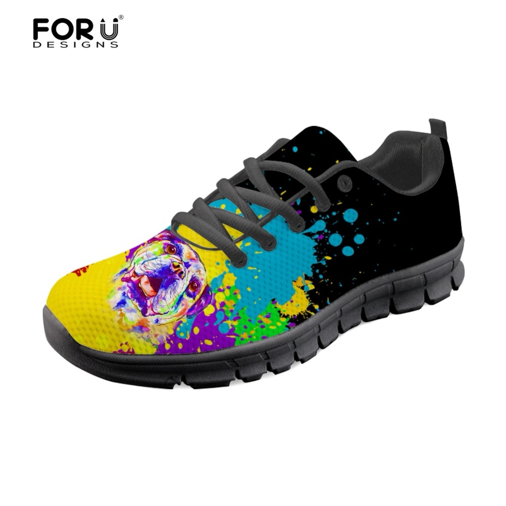 FORUDESIGNS Colorful French Bulldog Print Womens Shoes Flats Casual Brand Women Sneakers Shoes Woman Fashion Mesh Zapatos Mujer