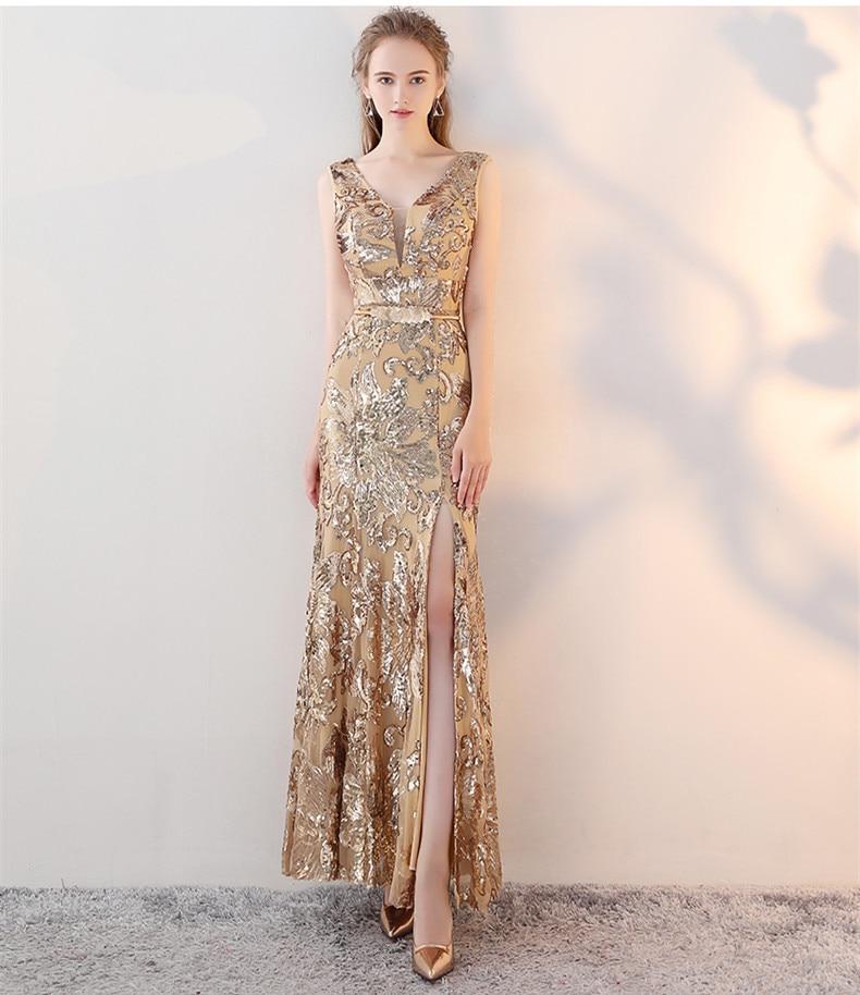 Robe De soirée sirène en or longue 2019 paillettes Robe De bal Elie Saab robes à col en V Robe De soirée - 4
