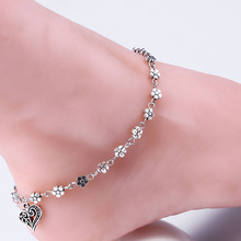 Summer Heart Flower Foot Jewelry Women Ankle Body Chain Jewely Antique Silver Anklets M823